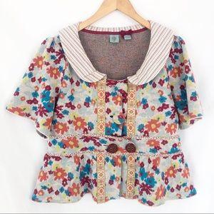 Anthropologie HWR wool floral sweater sz XL EUC